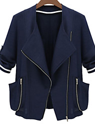 Women's Casual/Daily Simple Fall Jackets,Solid Shawl Lapel ¾ Sleeve Blue / White Polyester Opaque
