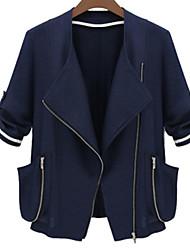 Damen Solide Einfach Lässig/Alltäglich Jacke,Schal Revers Herbst ¾-Arm Blau / Weiß Polyester Undurchsichtig