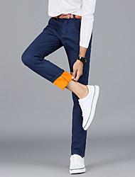 Herren Jeans-Einfarbig Freizeit / Büro Baumwolle / Elasthan Schwarz / Blau / Rot