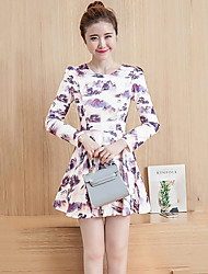 Women's Casual/Daily Vintage Sheath DressPrint Round Neck Above Knee Long Sleeve Orange / Purple Polyester All Seasons