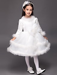 Ball Gown Knee-length Flower Girl Dress - Satin Long Sleeve Jewel with Bow(s)