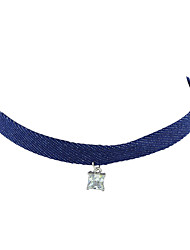 Colliers Tendance Collier court /Ras-du-cou Bijoux Soirée / Quotidien / Décontracté A la Mode / Bohemia style / Personnalité Tissu Bleu