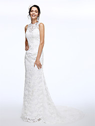 LAN TING BRIDE A-line Wedding Dress Floral Lace Court Train Jewel Lace with Beading Button