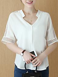 Women's Solid Pink / White / Gray Blouse,V Neck Short Sleeve