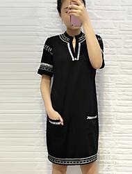Boutique S Going out Vintage Sheath DressSolid / Geometric V Neck Above Knee Short Sleeve Black Cotton