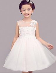 Ball Gown Knee-length Flower Girl Dress - Organza Sleeveless Jewel with Lace