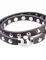 Fashion Long Trip Double Leather Full Rivet Band Cutting Wire Bracelets