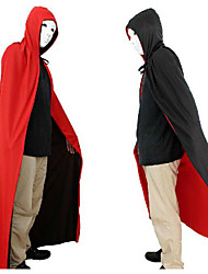 Halloween vêtements mascarade costumes d'un dieu de la mort cape vampire rouge et noir double face manteau 150cm