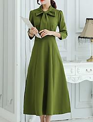 Women's  Sophisticated Sheath DressSolid Shirt Collar Midi Long SleeveBlack /