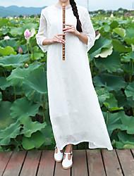 Feminino Evasê Vestido,Casual Vintage Jacquard Colarinho Chinês Longo Manga ¾ Branco Algodão Outono Cintura Média Sem Elasticidade Média