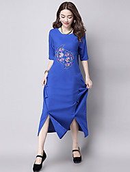 Women's Casual/Daily Vintage Loose DressSolid Round Neck Knee-length  Length Sleeve Blue / Black Cotton