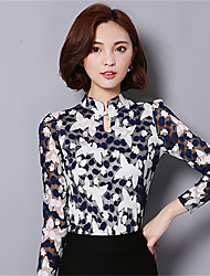 Spring Fall Going out Casual Women's Tops Spell Color Stand Collar Long Sleeve Lace Blouse