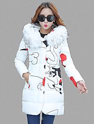 Women's Print White / Gray / Purple Padded Coat,Street chic Hooded Long Sleeve