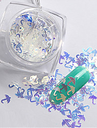 2g/box New Symphony Blue Umbrella/Flowers/High heels Paillette Glitter Nails 3d Slice Powder Set DIY Design