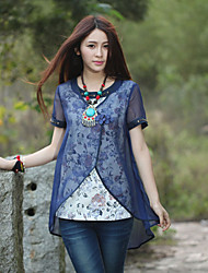 Our Story Going out Chinoiserie Summer BlouseFloral Round Neck Short Sleeve Blue Cotton / Polyester Medium