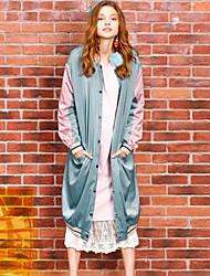 liangsanshi женщин вскользь / ежедневно уличные шикарные зимние куртки, цвет блока стоять длинный рукав зеленый полиэфирной среды