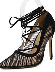 Damen-High Heels-Kleid Party & Festivität-Tüll-Stöckelabsatz-Komfort Neuheit Gladiator Pumps Modische Stiefel-Schwarz