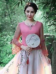 Débardeur Aux femmes,Broderie Sortie Vintage Eté Manches Longues Col Arrondi Rose Polyester / Spandex Moyen