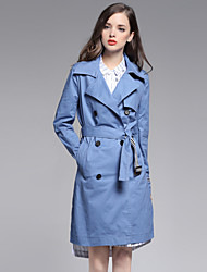MISS FRENCH  Work Simple Trench CoatSolid Peaked Lapel Long Sleeve Spring / Winter Blue Cotton Medium