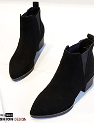 Women's Boots Spring Comfort Suede Casual Low Heel Others Black Gray Almond Walking