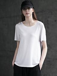 rizhuo Frauen Casual / Tages einfach Sommer t-shirtsolid Rundhals Kurzarm weiße Baumwollmittel