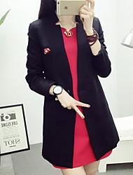 Damen Solide Einfach Arbeit Blazer,V-Ausschnitt Alle Saisons Langarm Rosa / Rot / Schwarz / Grau Baumwolle / Polyester Mittel