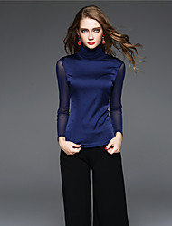 BOMOVO Women's Crew Neck Long Sleeve T Shirt Blue-B16QAT9