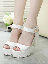 Women's Sandals Summer Comfort PU Casual Chunky Heel Magic Tape White Silver Others