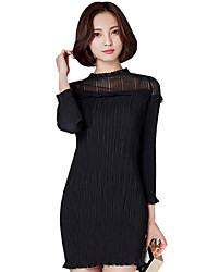 Spring Fall Slim Bottoming Women's Pack Hip Dresses Solid Color Splicing Stand Collar Long Sleeve Was Thin Mini Dress
