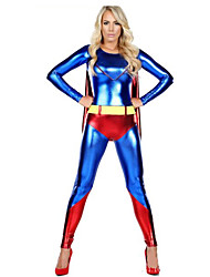 Woman Faux Leather Superhero Fancy Dress Halloween Party Outfit Costume Catsuit