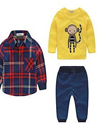 Boy's Casual/Daily Plaid Clothing SetCotton Spring / Fall Multi-color