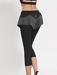 Corrida 3/4 calças justas / Cropped / Fundos MulheresRespirável / Secagem Rápida / Redutor de Suor / Confortável / Compressão / Materiais