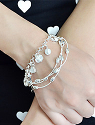 Silver Plated Multilayers Braided Metal Chain Bracelets