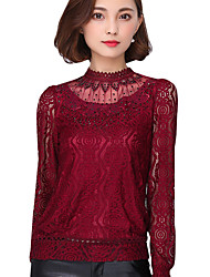 Spring Fall Going out Casual Women's Tops Solid Color Stand Collar Long Sleeve Lace Blouse
