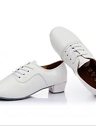 oxfords dos homens primavera / outono couro dedo do pé fechado ao ar livre / ocasional calcanhar robusto lace-up branco / prata / ouro