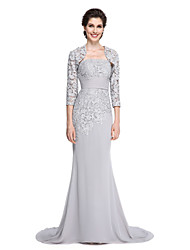 Lanting Bride®Trumpet / Mermaid Mother of the Bride Dress - Elegant Sweep / Brush Train 3/4 Length Sleeve Chiffon / Lace with Lace