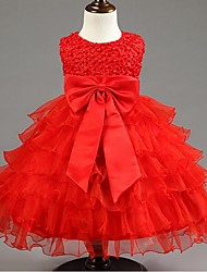 Ball Gown Knee-length Flower Girl Dress - Organza Sleeveless Jewel with Bow(s)