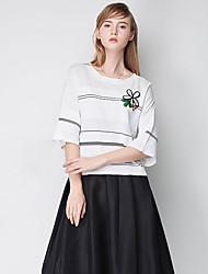 j&cardiganstriped régulière d des femmes / brodé noir blanc ronde polyester automne / manches cou mince micro-élastique