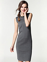 Women's Going out / Casual/Daily / Formal Sexy / Simple / Street chic Bodycon Dress,Solid Round Neck Above Knee