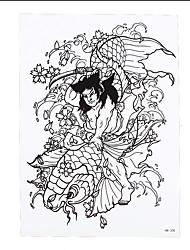 1pc Women Men Decal Temporary Tattoo Sticker Carp Fish Demon Design Body Art Tattoo Lucky Blessing HB-308