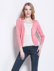 Women's Casual/Daily Simple / Street chic Slim Hin Thin Regular Cardigan Solid More Colors Can Available