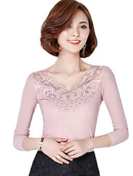 Fall Women's Plus Size Go out Solid Color Slim Was Thin Casual Lace V Neck Long Sleeve Blouse