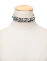 Femme Collier court /Ras-du-cou Tattoo Choker Colliers Déclaration Turquoise Alliage Tatouage Vintage Bijoux de déclaration Style Folk