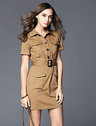 Boutique S Work Sophisticated Sheath DressSolid Shirt Collar Above Knee Short Sleeve Brown Cotton Summer
