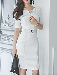 Women's Fine Stripe Going out Simple Sheath Dress,Striped V Neck Knee-length Short Sleeve White Cotton / Polyester Summer