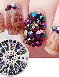 240Pcs/Box Round Laser Nail Rhinestone Flat Back Acrylic UV Nail Art Decorations