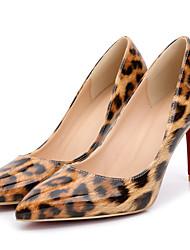Черный Миндальный-Женский-Для офиса Для праздника Повседневный-Лакированная кожа-На шпильке-С Т-образной перепонкой-Обувь на каблуках