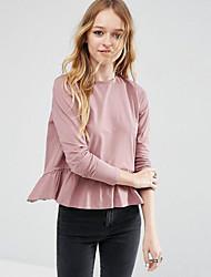Damen Solide Retro Ausgehen T-shirt,Rundhalsausschnitt Herbst Langarm Rosa Baumwolle Mittel