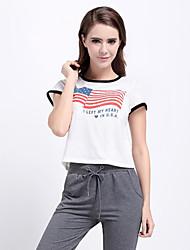 Damen Buchstabe Street Schick Lässig/Alltäglich T-shirt,Rundhalsausschnitt Sommer Kurzarm Weiß Baumwolle Undurchsichtig