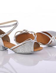 Customizable Women's Dance Shoes Leather / Paillette Leather / Paillette Latin / Dance Sneakers Heels Chunky Heel Indoor
